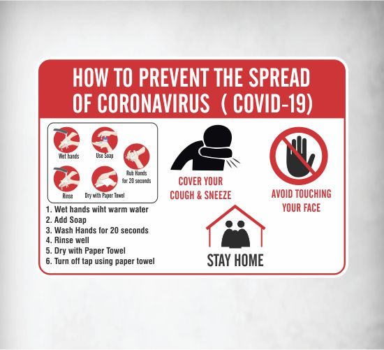 Covid-19 Spread Prevention Signs