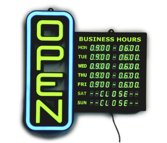 LED Open signs with Hours