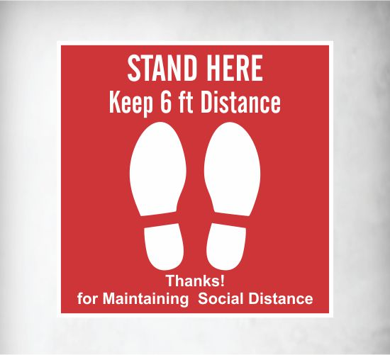 Social Distancing Floor Decal Square